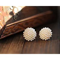 Women Beatiful White Beads Pearl Gold Plated Earrings Ear Studs Piercing Jewelry EW