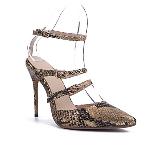 Minitoo Ladies MA04138 Stiletto Heel Snake Double Strap Dress Shoes Gold bnO1Mub4
