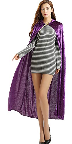 Urban CoCo Women's Costume Full Length Crushed Velvet Hooded Cape (Purple)]()