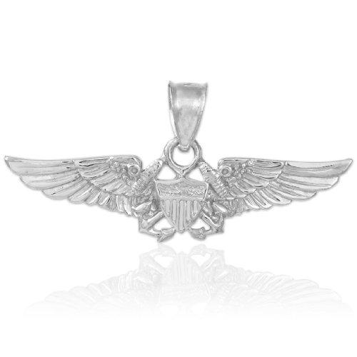925 Sterling Silver US Naval Aviator Badge Wings Pendant (Eagle Pilot)