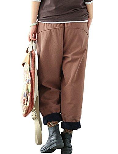 Elástica Grueso Café Cintura Youlee Mujeres Estilo Invierno Pantalones Claro Calentar Otoño 1 InOq6