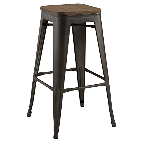 - Modway EEI-2819-BRN Promenade Modern Aluminum Backless Bistro Seat, Bamboo Bar Stool, Brown
