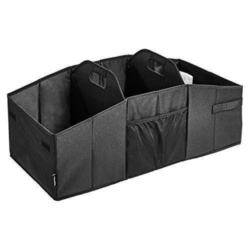 AmazonBasics Collapsible Portable Multi-Compartment Heavy Duty Cargo Trunk Organizer - Black