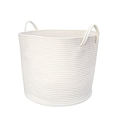 M-Aimee Large Cotton Rope Storage Basket with Handles for Nursery Kids' Room Bathroom Laundry, White (Small,20 * 25cm)