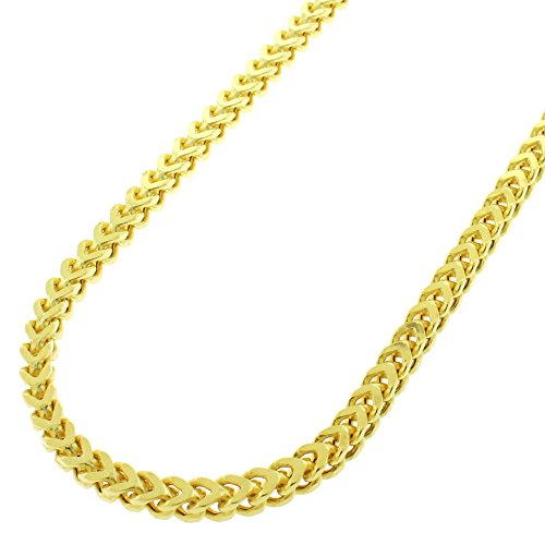Sterling Silver 3mm Hollow Franco Square Box Link - 18K Yellow Gold Plated - Light-Weight 925 Necklace Chain - 16