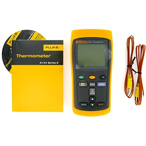 Fluke 52-2 Dual Input Digital Thermometer, 3 AA Battery, -418 to 2501 Degree F Range, 60 Hz Noise Rejection