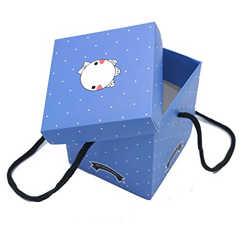 IINDYD Square Favor Blue Box Kit With Rope Handles Birthday Party Favors Kit Thank You for Celebrating White Polka Dot (Blue) (Gifting Etiquette)