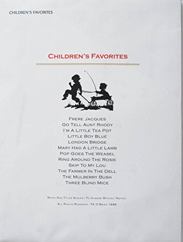 Children's Favorites Music Pack for TK O'Briens Lap Harp (The Words To Mary Had A Little Lamb)