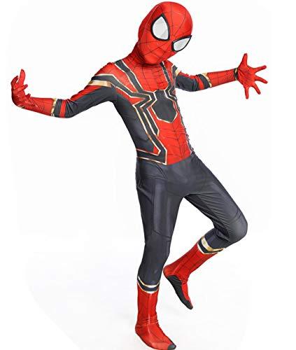 Newhui Teens Kids Halloween Spider Red Zentai Costume Bodysuit Cosplay Mask -