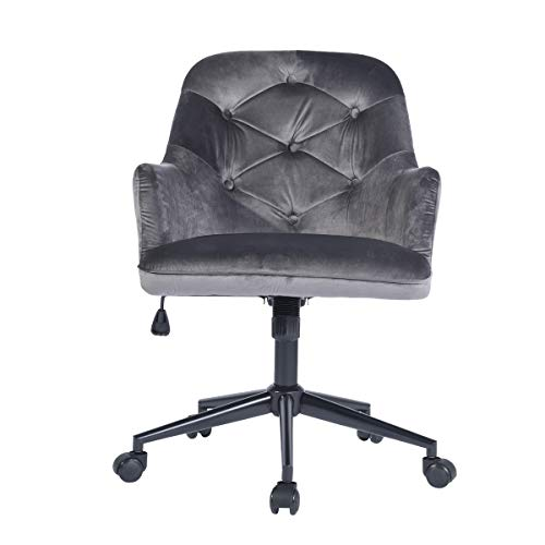 HOMY CASA Modern Swivel Desk Chair with Wheels Mid Back Support Serta Accent Armrest Velvet Fabric Seat with Butterfly Mechanism for Conference Room Home Office Grey