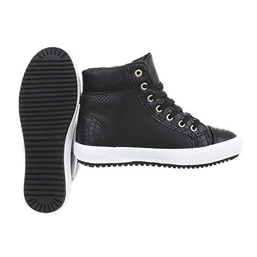 Ital Design Zapatillas para Bn Plano Zapatillas Zapatos Mujer Altas d29 Negro OOBxrq