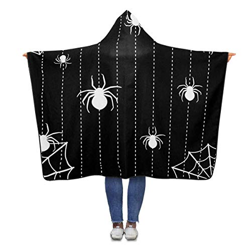 InterestPrint Halloween Spiders Hooded Blanket 80 x 56 inches Adults Girls Boys Throw Blankets Wrap (Halloween Spider 56)
