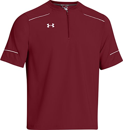Under Armour Men's Team Ultimate Short Sleeve Cage Jacket, Cardinal/White, Small