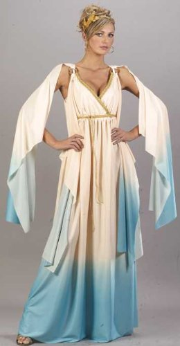 Roman Halloween Greek Costumes (Fun World Greek Goddess Costume, Crème/Light Blue, Small/Medium)