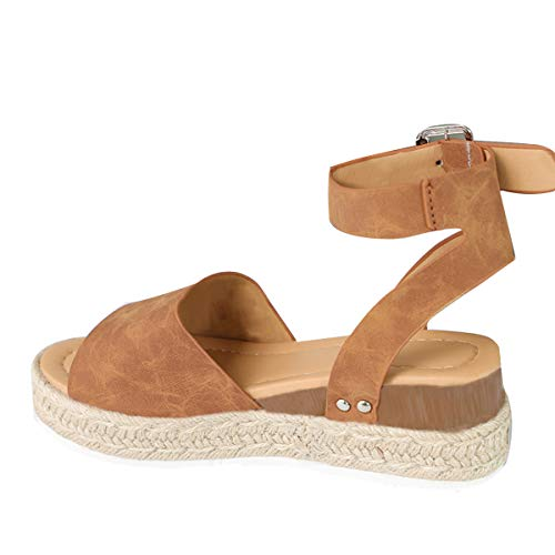 Gnpolo Womens Brown Wedge Platform Sandals with Ankle Strap Open Toe Flatform Strappy Summer Shoes