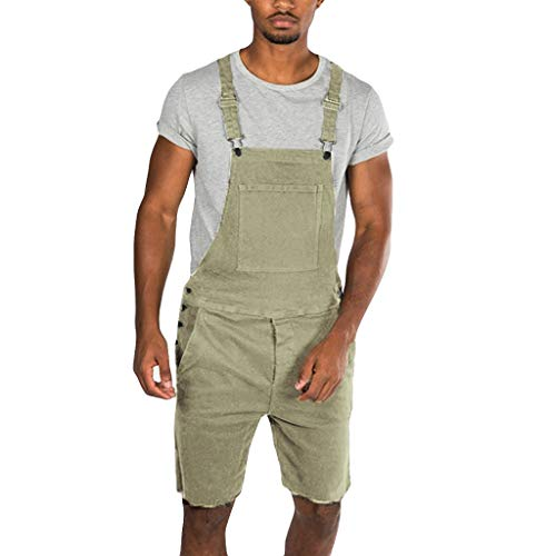 Overalls Shorts for Men,2019 New Summer Retro Denim Button Dungaree Jumpsuit Bib Short (L, Yellow) (Best Hunting Bibs 2019)