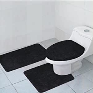black and white bathroom rug set 3 quinn solid bathroom accessory set 25112