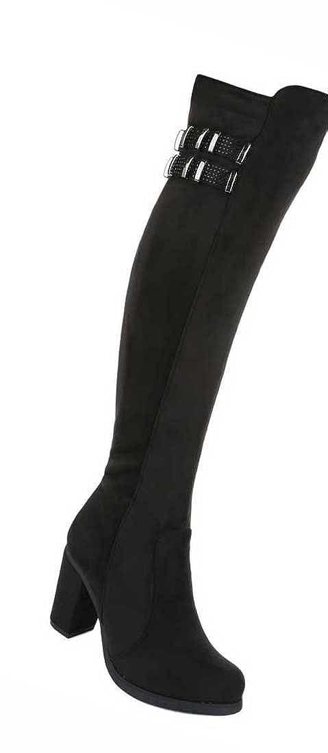 Damen Overknee Stiefel Schuhe Leicht Gefütterte Schwarz Blau 36 37 38 39 40 41