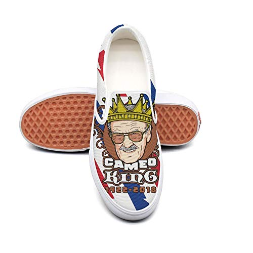 - Denim Womens Sneakers Cameo King Stan Lee Slip on Low Top Canvas Deck Shoes