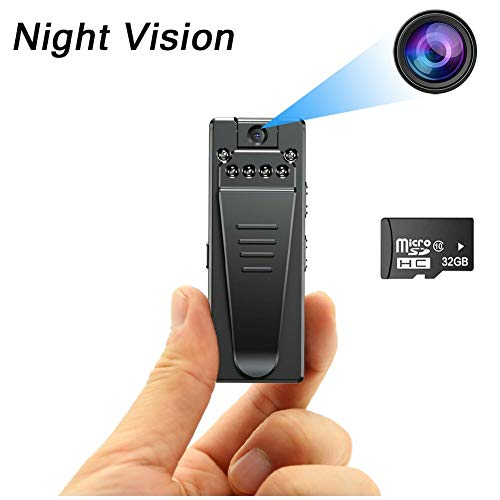 Mini Body Camera,Spy Hidden Camera 1080P Mini Nanny Cam with Night Vision Portable Camera Pocket Clip Wearable Camera Video Recorder with 32GB SD Card,Small Security Camera for Home and Office