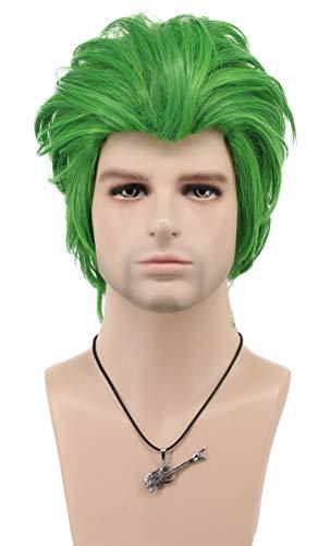 VGbeaty Men Women Short Straight Green Joker Wig Halloween Cosplay Costume Anime Wig -