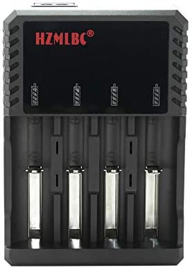 Lilideni AC100-240V 8.4W 4 Ranuras Cargador de batería para 3.7V 26650/22650/18650/17670/18490 Batería de Litio Recargable con LED Indicador Lámpara ...