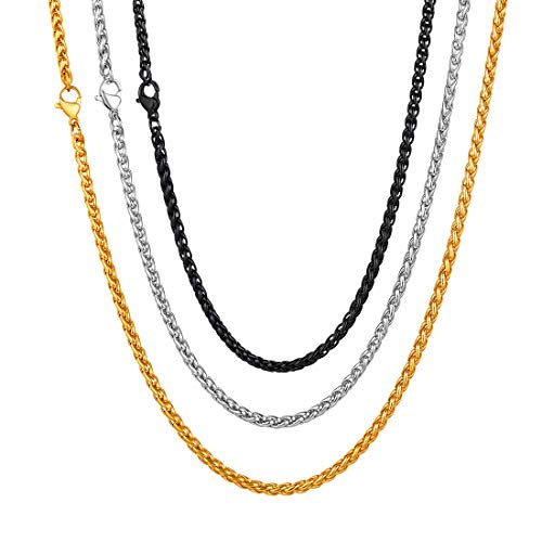 U7 Stainless Steel Chain 3mm Twisted Spiga Wheat Chains 3 Pcs Set Men Women Fashion Jewelry - 18 Inches ()