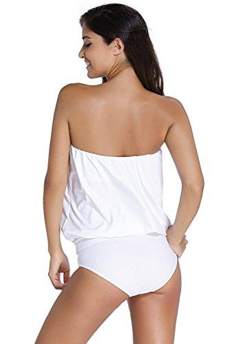 Bikini Mujer Bandeau - BienBien Traje de Baño Dos Piezas Bañador Tankinis Mujer Sin Tirantes Ropa de Playa Atractiva Vendaje Vestido blanco