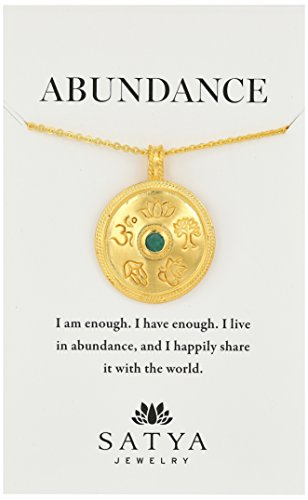 Gold Emerald Mandala Pendant Necklace, 30