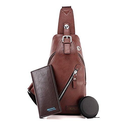 Arco iris Fanny Paquete de bolsillo de viaje de bolsillo de los hombres PU de cuero de viaje Bolso de hombro Bolso de negocios Mochila de ciclismo Daypack marrón
