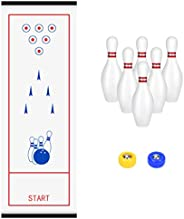 WIOR Tabletop Curling Bowling Shuffleboard Game Set, Compact Bowling Set for Kids with 6 Bowling Pins & 2