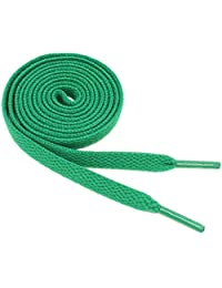 "Flat Shoelaces 5/16"" Wide Solid Colors Several Lengths For Sneakers and Shoes (Green-36)"