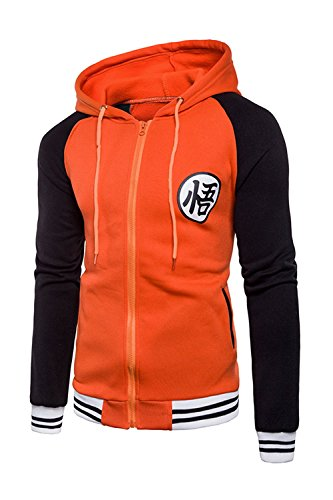 Japanese Anime Dragon Ball Z Goku Symbol Zip Hoodies Sweatshirt Costumes (XXLarge, Orange/Black) ()