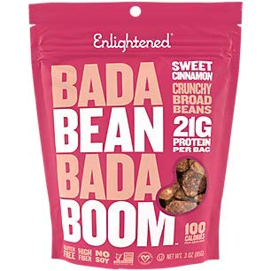 Enlightened Bada Bean Bada Boom Plant Protein Crunchy Broad Beans Snacks, Sweet Cinnamon, 3 Ounce (Single Pack)