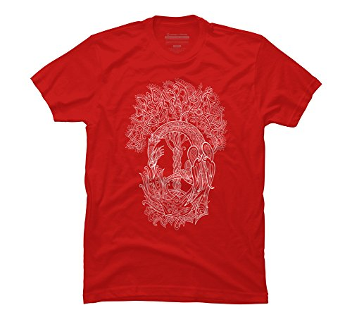 (Design By Humans The Phoenix Bird and The Tree of Life - white Men's Medium Red Graphic T)