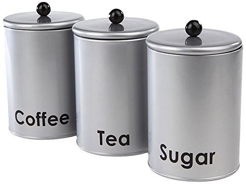 Mind Reader 3 Piece Sugar,Tea,Coffee Round Canister Set, Silver