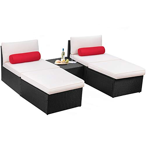 (Devoko 5 Pieces Patio Outdoor Furniture Set All Weather PE Wicker Sectional Patio Chaise Lounge Poolside Rattan Patio Conversation Sets with Cushion (Black))
