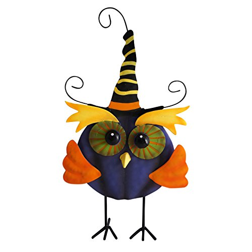 Cute Witchy Owl Halloween Greeter Standing Figure (Blue) -