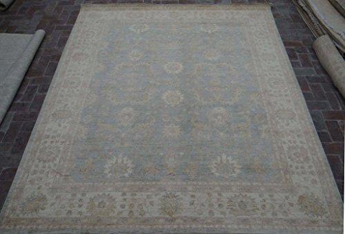 Chobi Carpet - Grayish Blue Area Rugs Graceful Look Handmade Rug 8' x 10' Chobi Peshawar Carpet
