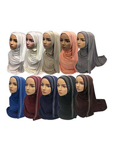 12 Pieces/Pack 10 Mix Colors Imitated Rhinestones Decorated Muslim Cotton Hijabs Scarves Shawls 75x170cm 280g/piece (Long A) by Yaleagzss