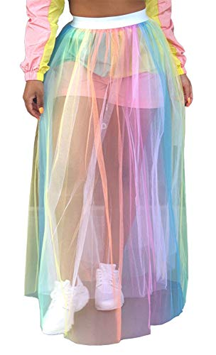 MONASAMA Women Colorful See Through Sheer Mesh Hollow Out Pleated A Line Maxi Long Party Skirt Floral M