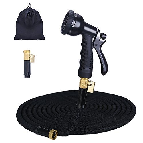 Gospire 100ft Expandable Garden Hose - 2018 Strongest Water Hose with Triple Latex Core+On/Off Valve+3/4 Brass Connectors+8 Pattern Spray and Storage Sack - Doesn't Leak & Kink, Extra Strength Fabric (Kink Hose Valve)