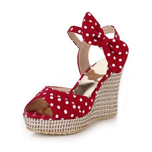 (Nafanio Women Wedge Platform Sandals Bowknot Ankle Strap Peep Toe Polka Dot Ladies Summer Casual Solid Outdoor High Heel Slingback)