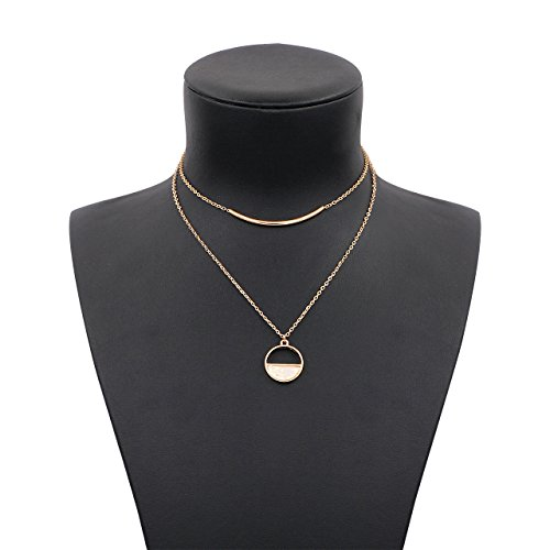 Hanloud Exquisite 2 Row Multi Layer Chain Choker Necklace Bar and Amber Stone Accent Pendant Necklace (Multi Stone Chain Necklace)