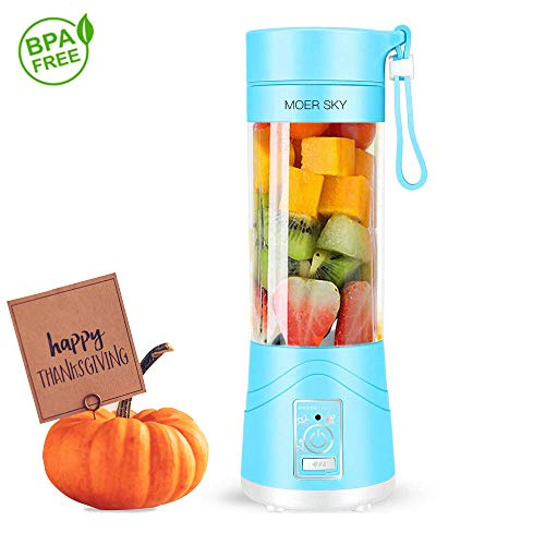 Portable Juicer Blender, Household Fruit Mixer – Six Blades in 3D, 380ml Fruit Mixing Machine with USB Charger Cable for Superb Mixing, USB Juicer Cup by Moer Sky (A)