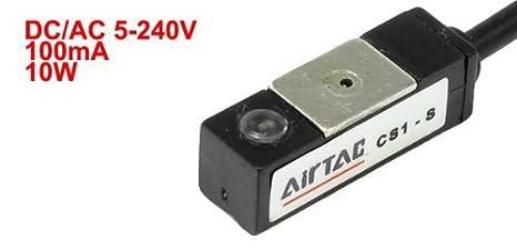eDealMax CS1-S DC/AC 5-240V 2 Cables El indicador LED Rojo Aire Luz Cilindro de sensores magnéticos de un interruptor de: Amazon.com: Industrial & ...