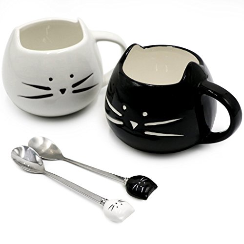 Koolkatkoo Cute Cat Mug Ceramic Coffee Mugs Set Gifts for Women Girls Cat Lovers Funny Small Cup with Spoon 12 oz Black and White ...
