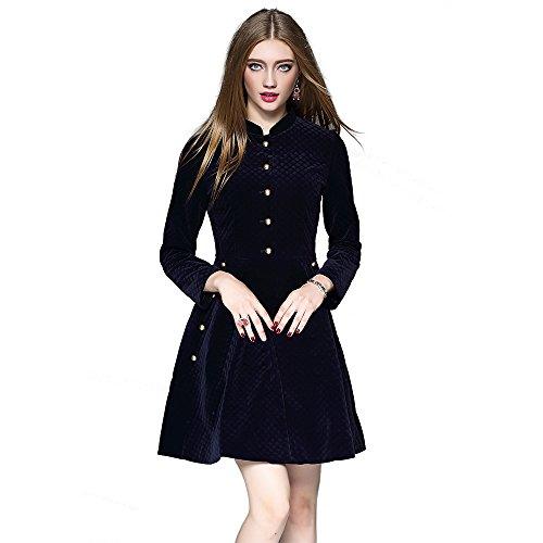 Winter DEZZAL Long Flare Dress Vintage Line Sleeve Women's Velvet A Mini TrqEZwqR