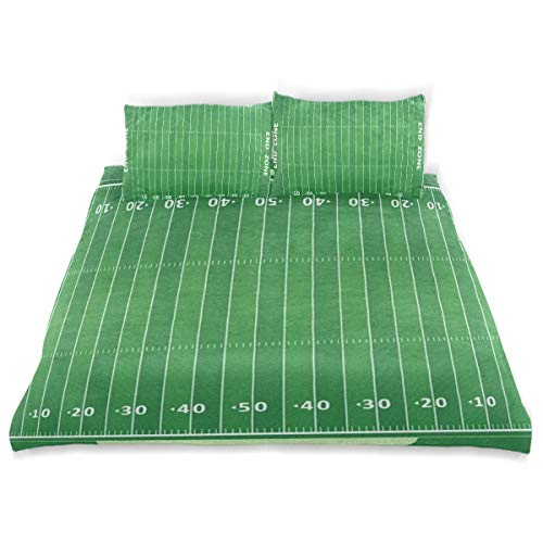 (SLHFPX American Football Field 3 Piece Bedding Duvet Cover Set Twin Size 1 Quilt Cover and 2 Pillow Cases Shams 66
