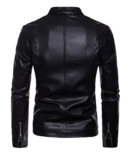 Jacket Punk Zip XINHEO Pu Collar Mens Classic Casual AS1 Motorcycle up Stand q7Ztvf7